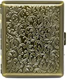 Vintage Gold Victorian Print (Full Pack 100s) Metal-Plated Cigarette Case & Stash Box