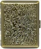 Vintage Gold Victorian Print (Full Pack 100s) Metal-Plated Cigarette Case & Stash Box