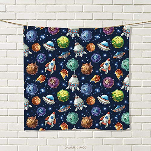 f382e04660 smallbeefly Space Hand Towel Futuristic Science Fiction Comic Planet  Spaceships Androids Rockets UFO Illustration Quick-