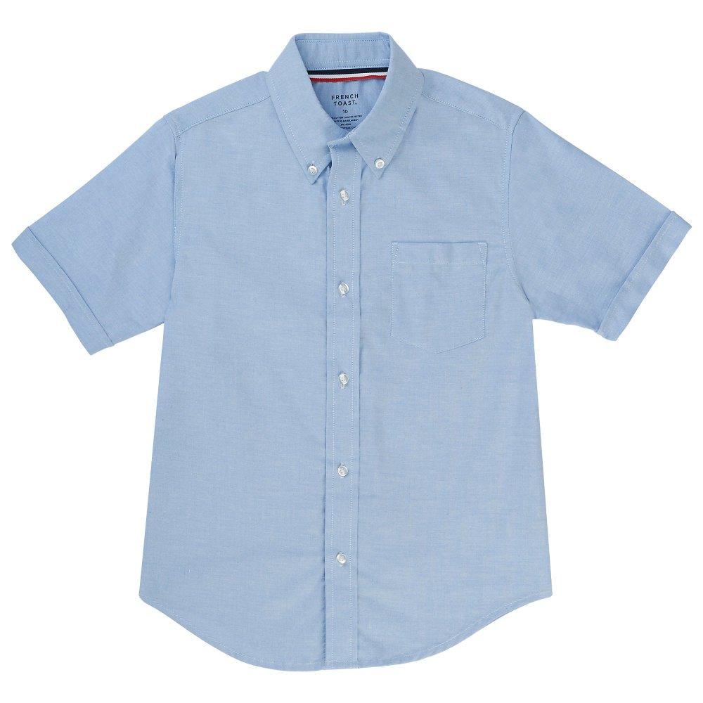 French Toast Boys' Toddler Short Sleeve Oxford Shirt, Light Blue, 3T