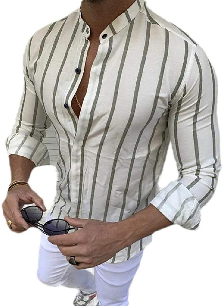Hajotrawa Mens Casual Long Sleeve British Style Stripe Button Down Shirts