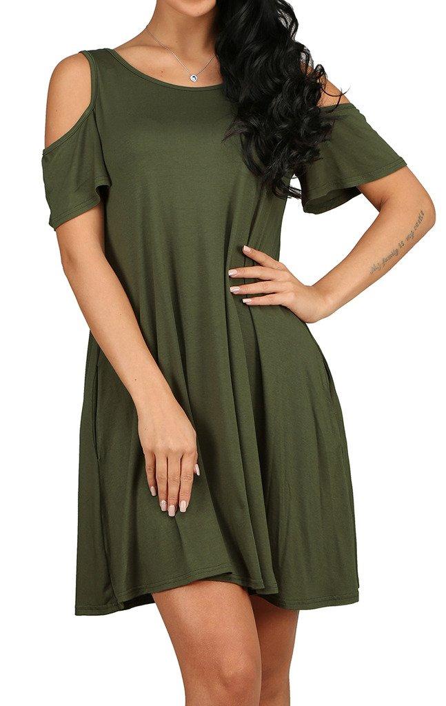 Women\'s Casual Plain Flowy Simple Swing T-shirt Loose Dress Army Green S