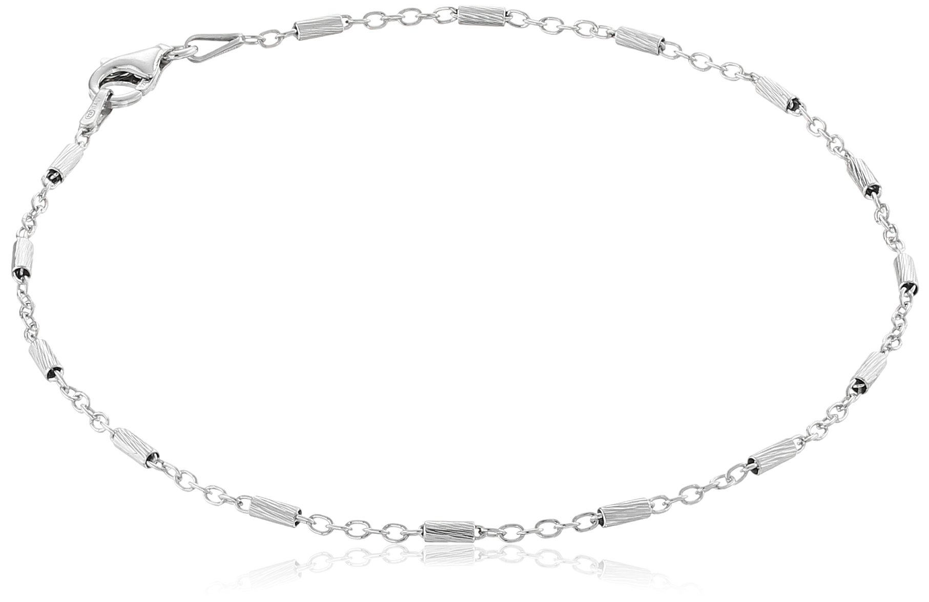 Sterling Silver Italian Diamond Cut Bar Station Anklet, 9''