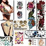 LuneSong Large Temporary Tattoos - Series #1 - 10 Temporary Tattoo Sheets - Large Full Arm Sleeve Tattoo-Metallic & Realistic - For Women, For Men & For Kids (Series 1)