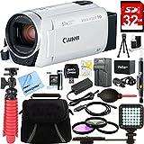 Canon VIXIA HF R800 Full HD White Camcorder + 32GB Card and Accessory Bundle
