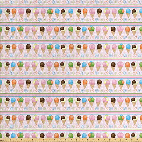 Lunarable Ice Cream Fabric by the Yard, Horizontal Borders with Dots Stripes Creamy Milky Desserts Flowers and Hearts, Decorative Fabric for Upholstery and Home Accents, Multicolor (Dots Milky)