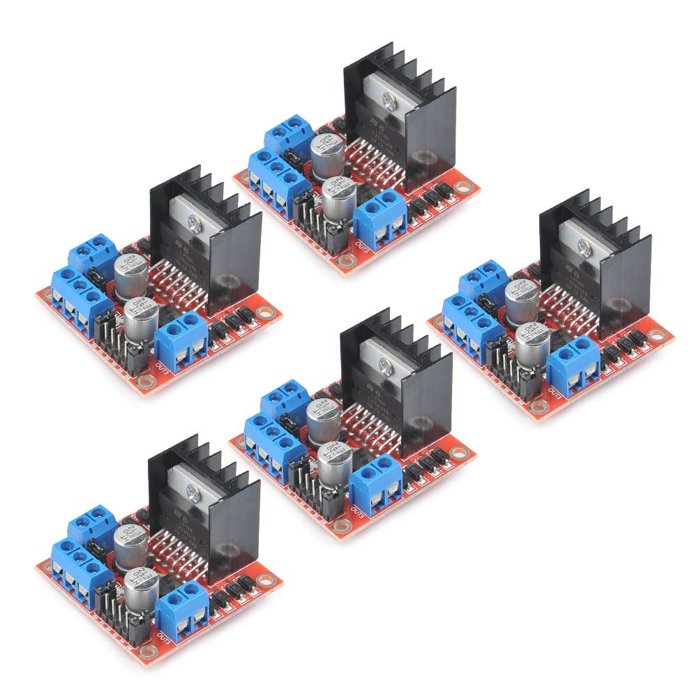 TIMESETL 5Pack L298N Stepper Motor Driver Controller Board Dual H Bridge Module for Arduino Electric Projects