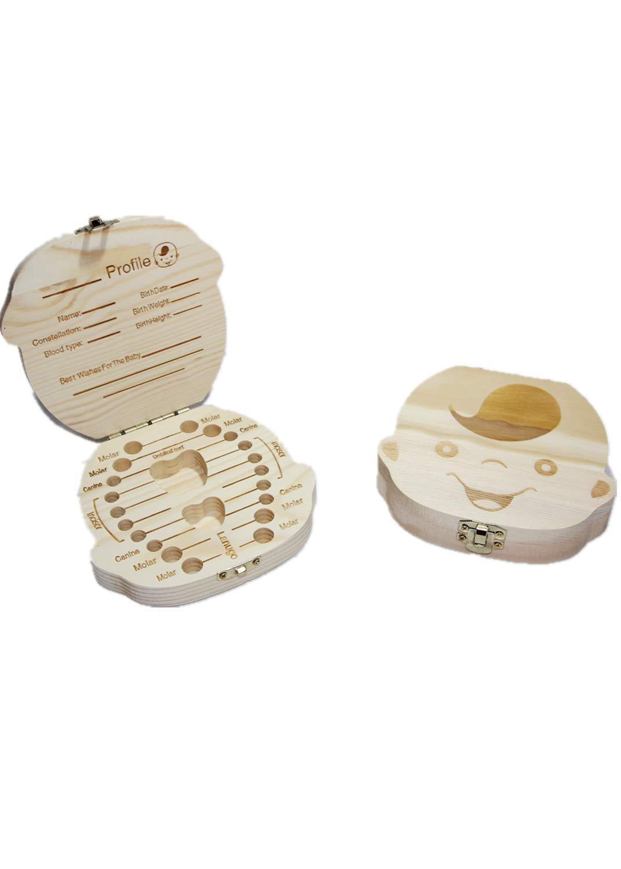 Wooden Baby Boy Milk Teeth Save Box Souvenir Box Organizer Holder Storage for Kids Baby