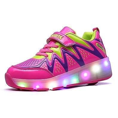 Meurry Kinder Roller Schuhe Skates Schuhe LED Skatesboard Schuhe Roller Skate Schuhe mit Rädern Licht Single Wheel Sportschuhe Jungen Mädchen (38 EU, Rosa)
