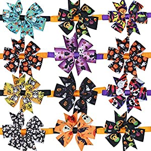 Halloween Dog Cat Bow Ties, Dog Ties, pet Collar Pinwheel Boutique, Dog Collar Accessories, Dog Bowtie Holidays 12pcs…