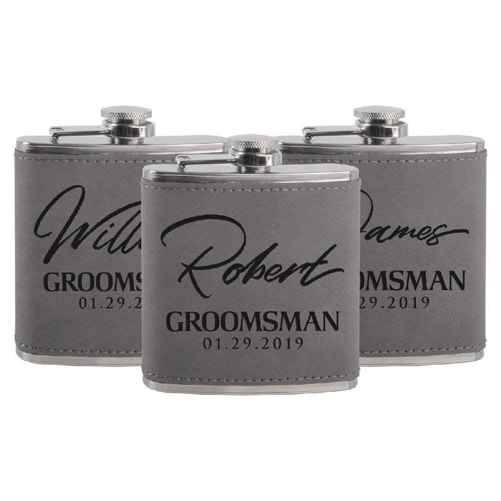 大量入荷 Personalized Groomsmen Flasks、Groomsmenプレゼント| 6oz B07BZD5S69 アッシュ Leatherette PersonalizedのフラスコLiquor # 8 # 3 アッシュ B07BZD5S69, Voks:37bb0cde --- a0267596.xsph.ru