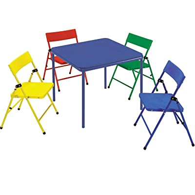 Cosco 5-Piece Kid Table and Chair Set, Red/Yellow/Blue: Home & Kitchen
