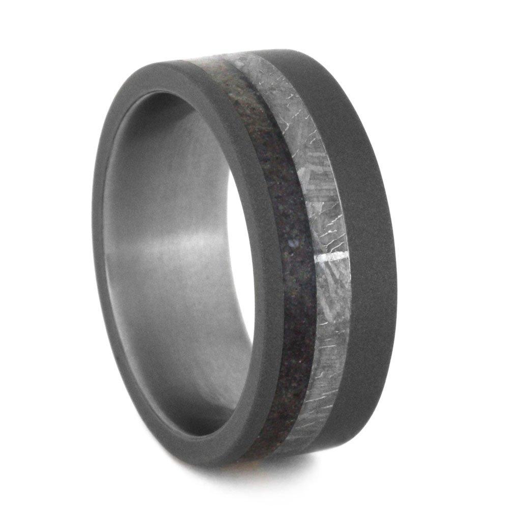 Dinosaur Bone, Gibeon Meteorite 8mm Comfort-Fit Sandblasted Titanium Ring, Size 12 by The Men's Jewelry Store (Unisex Jewelry)