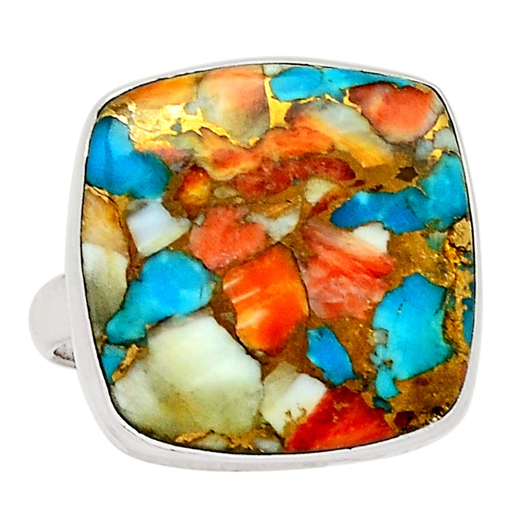 Xtremegems Spiny Oyster /& Arizona Turquoise 925 Sterling Silver Ring Jewelry Size 9 30183R