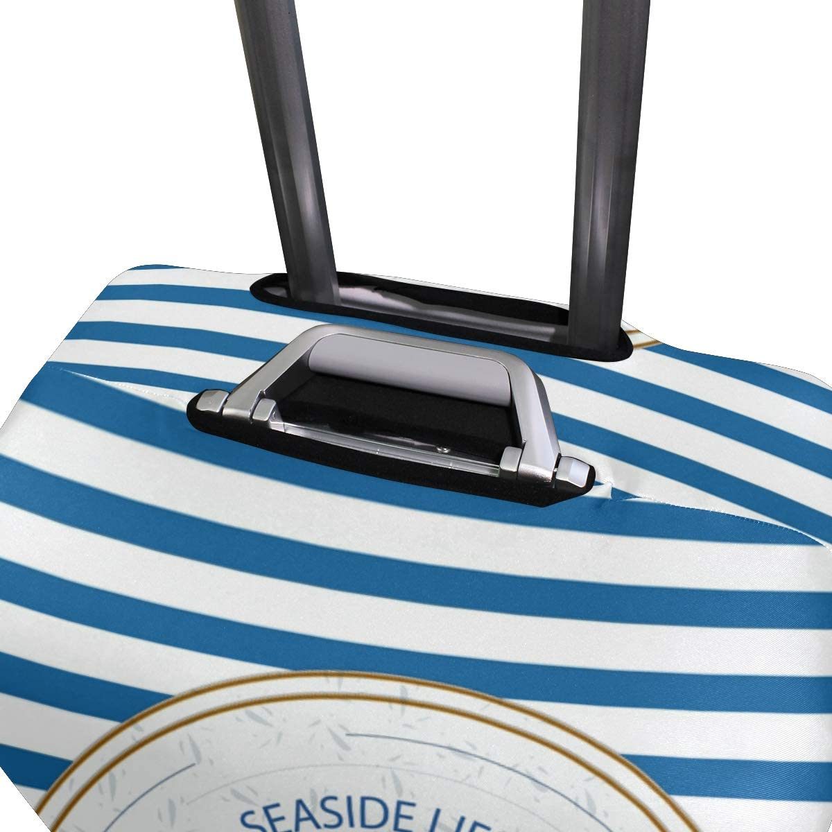 FOLPPLY Blue White Stipe Nautical Anchor Luggage Cover Baggage Suitcase Travel Protector Fit for 18-32 Inch