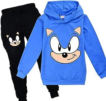 Sonic Sudadera con capucha y pantalones de ropa deportiva para niños Chándal de niñas lindo dibujos animados estampados el erizo traje Jumper