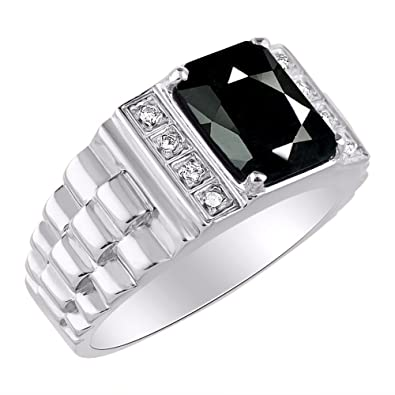 b5198c32a Image Unavailable. Image not available for. Color: Mens Diamond & Simulated Onyx  Ring 14K Yellow Gold ...