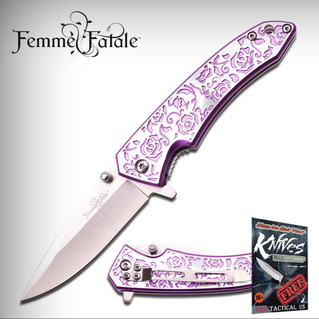 FEMME FATALE Spring Assisted Open PURPLE ROSE Ladies Purse Folding Pocket Elite Knife + free eBook by ProTactical'US