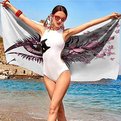 wel W28 xL55 Butterflies,Fairy Female Eye with Butterflies Eyelashes Mascara Stare Party Makeup,Pale Pink Purple Adult Quick-Drying Towel ()