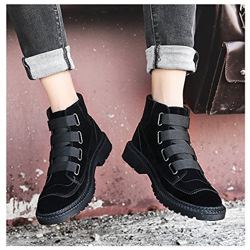 Scurtain Mens Velcro Cheville Casual Bottes Travail Robe Bootie Haut Top Chaussures De Mode Noir