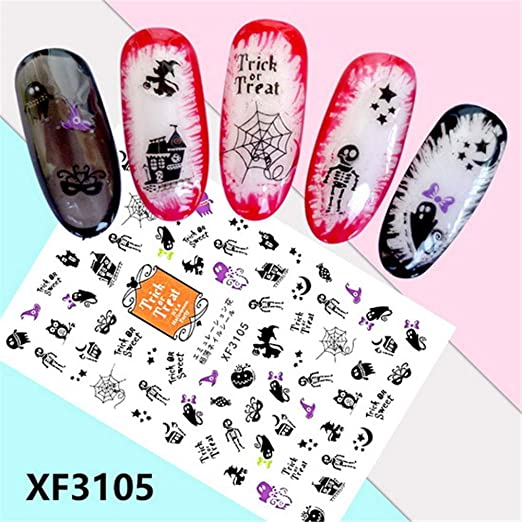 Amazon Com Dmz Halloween Horror Design 3d Nail Art Stickers