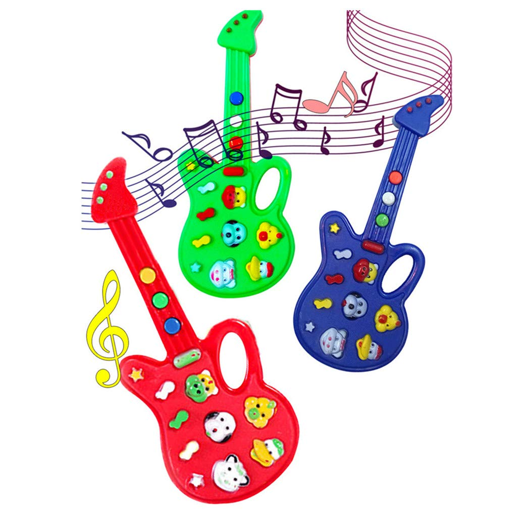 Wenini Guitar Toy Baby Kids Cute Electronic Guitar Rhyme Developmental Music Sound Child Toys Gift (Random Color)