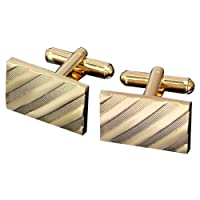MGStyle Cufflinks For Men - Slant Stripes - Gold Tone - Rectangle - Stainless Steel with Deluxe Gift Box