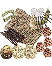 Bunny Hamsters Chew Toys Set, Straw Woven Bed Mat& Rabbit Pet Tooth Organic Natural Apple Wood Grass Cake Ideal for Chinchilla, Guinea Pigs, Syrian Rat,Birds,Teeth Grinding&Hámster Conejo(22Pieces)