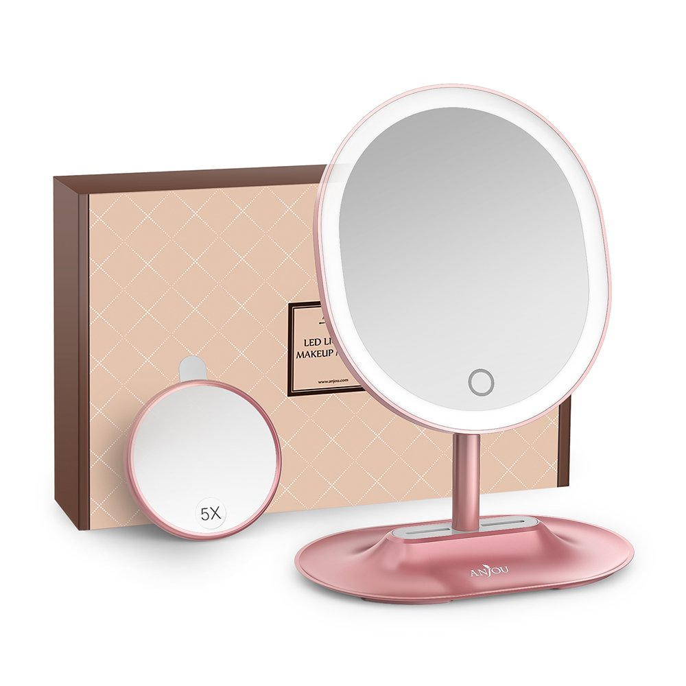 Anjou Makeup Mirror Rechargeable LED Lighted with 1X / 5 X Magnification, Anjou USB Rechargeable Vanity Mirror Touchscreen Dimmable LED Light for Countertop Cosmetic Makeup