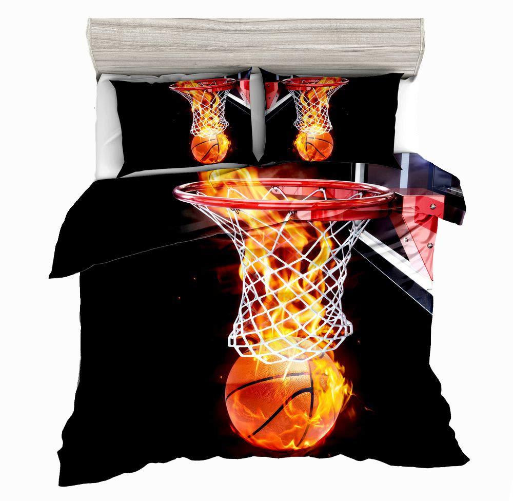 SxinHome 3D Basketball Full Kids' Bedding Set,Flame Basketball Printed in Black Duvet Cover Set .Boys and Girls' Favorite Bedding Set. 3pcs(1 Duvet Cover, 2 Flame Basketball Pillowcases),No Comforter