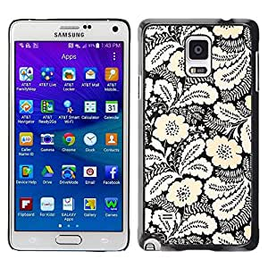 FECELL CITY // Duro Aluminio Pegatina PC Caso decorativo Funda Carcasa de Protección para Samsung Galaxy Note 4 SM-N910 // Yellow White Black Wallpaper Vintage
