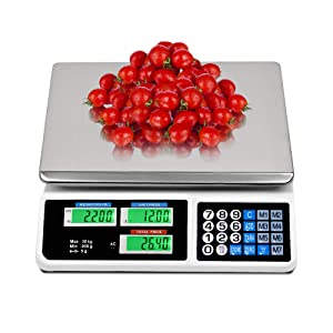 La fete 66LB Digital Weight Price Scale Electronic Price Computing Scale LCD Digital Commercial Retail Food Meat Weight Scales, Upgraded Version