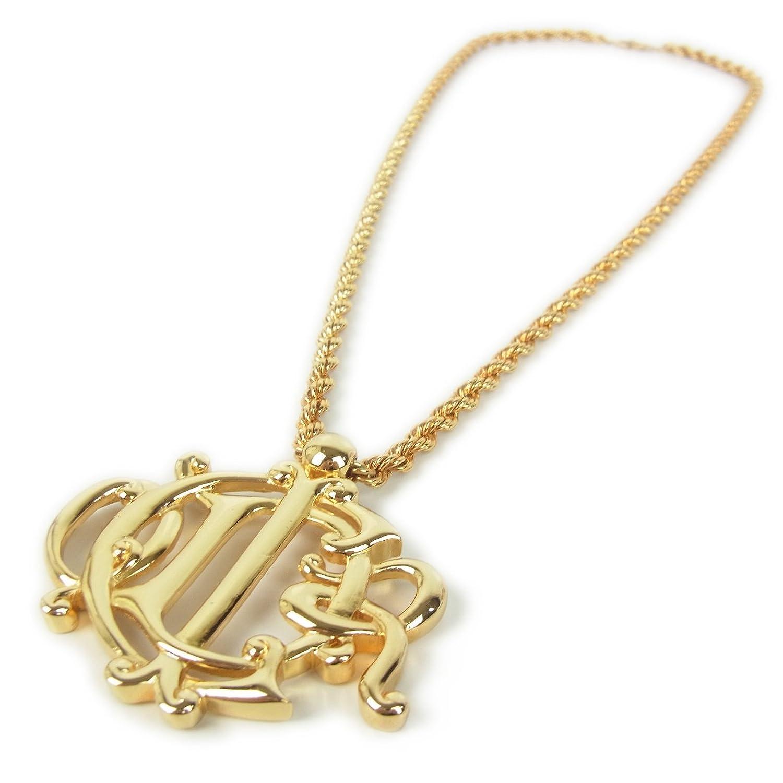 (クリスチャン ディオール) Christian Dior ロゴ エンブレム デザイン スパイラル チェーン ネックレス ペンダント アクセサリー 保存袋付き ゴールド 29585eSaM 中古 B07D3SGH38