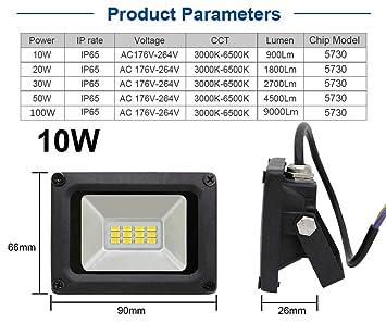 WCT 10W Luces de Seguridad de Proyector LED UltraSlim Iluminación ...