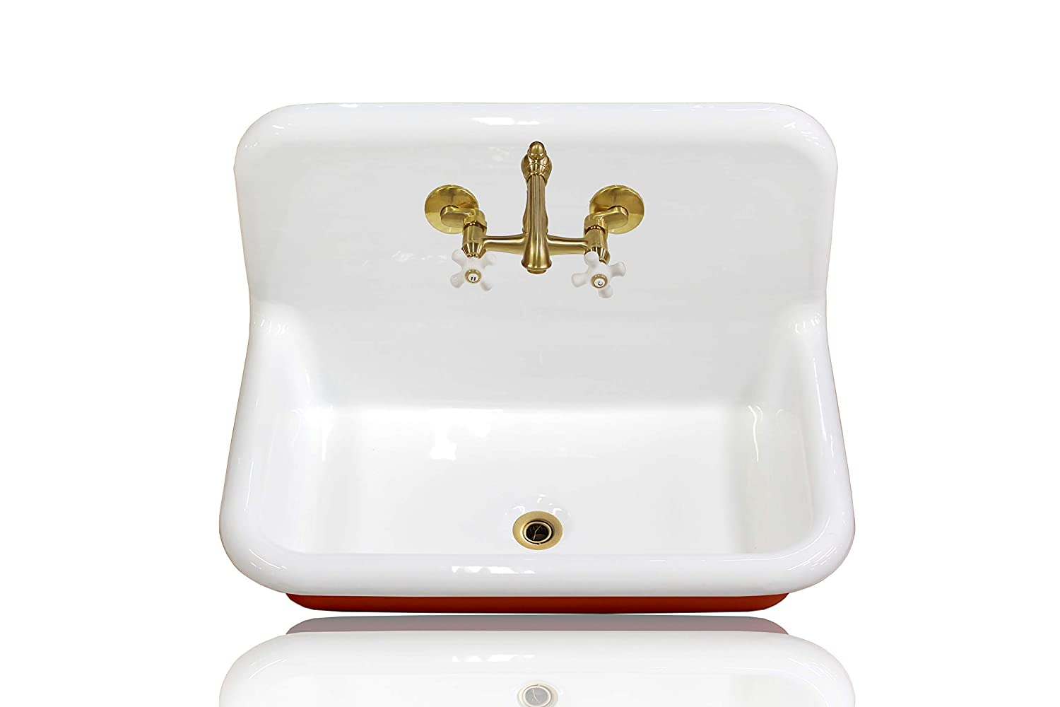 30 Antique Inspired High Back Farm Sink Cast Iron Original Porcelain Wall Mount Kitchen Sink Package Incarnadine Red Talkingbread Co Il