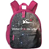 Water Polo Heartbeat School Backpacks For Boys Girls Cute Bookbag Outdoor Daypack Colorkey