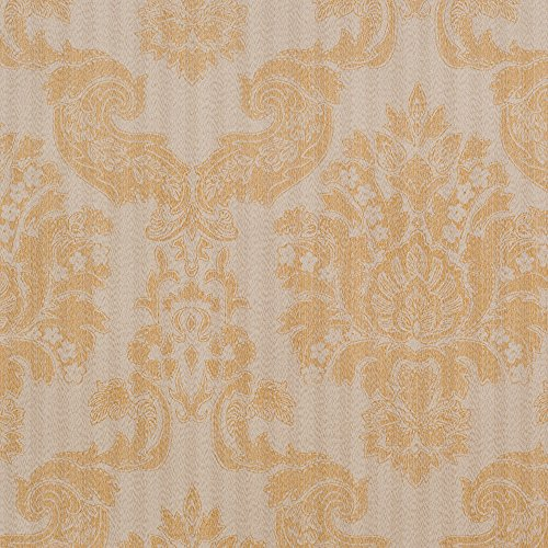 Stripe Wallpaper Double Roll - Louis Tan Gray/Gold Damask Vinyl Wallpaper For Walls - Double Roll - By Romosa Wallcoverings
