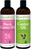 Organic Castor Oil (16oz) + Organic Black Castor Oil (16oz) - 100% Pure Hexane-Free Castor Oil - Conditioning & Healing…