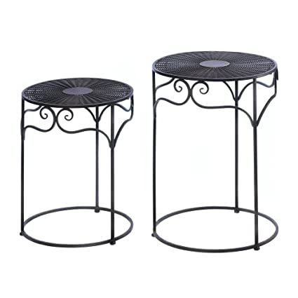 Charmant Umber Wicker Round Nesting Tables