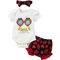ZOEREA Conjunto de Ropa para Bebé Niña Mono de Manga Corta Romper + Shorts Estampados + Diadema Recién Nacido Trajes de…