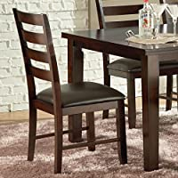 Steve Silver Sao Paulo Ladderback Side Chair in Dark Brown Upholstery [Set of 2]
