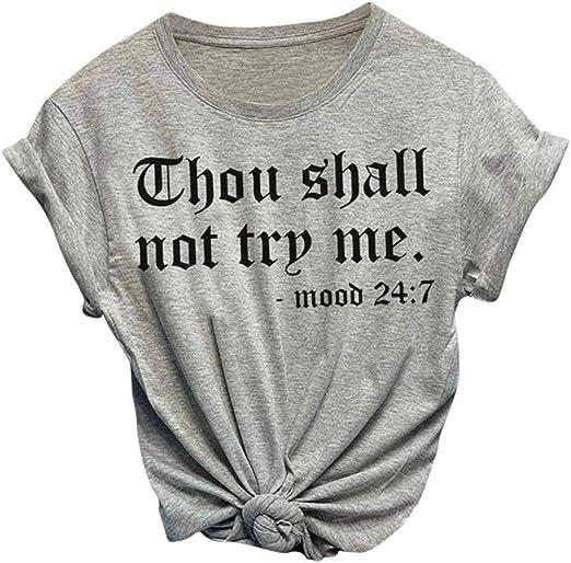 XXXL, White TIANRUN Women Plus Size T-Shirt O-Neck Top Letter Print Short Sleeve Active Wear