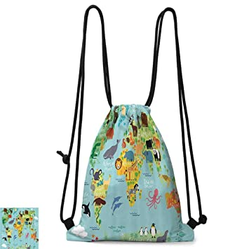 f01bdda7de0b School backpack Kids Bathroom Wanderlust Animal Map of the World for  Children and Kids Cartoon Mountains