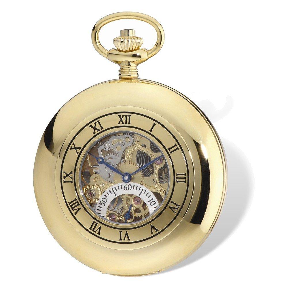 Charles Hubert IP-plated Open Heart 53mm Case Pocket Watch