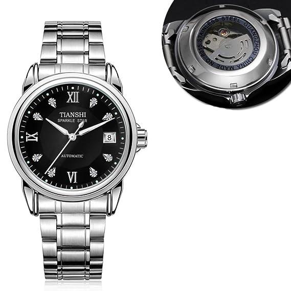 Todo reloj mecánico automático,Negocios de lujo acero inoxidable correa de casual moda luminoso impermeable calendario hombres-L: Amazon.es: Relojes