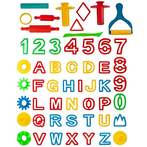 Kiddy Dough 42-Piece Play Dough Tool Kit & Clay Party Pack w/Letters and Numbers – Mega Tool Playset Includes 45 Colorful Cutters, Molds, Rollers & Play Accessories + 2 BONUS Surprise Dough Extruders by KIDDY DOUGH