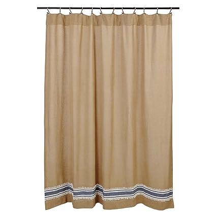 Amazon.com: Mill Creek Burlap & Stripe Shower Curtain, 72 x 72 ...