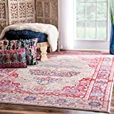 """Vintage Antique Brick Medallion Red Area Rugs, 5 Feet 3 Inches by 7 Feet 7 Inches (5' 3"""" x 7' 7"""")"""