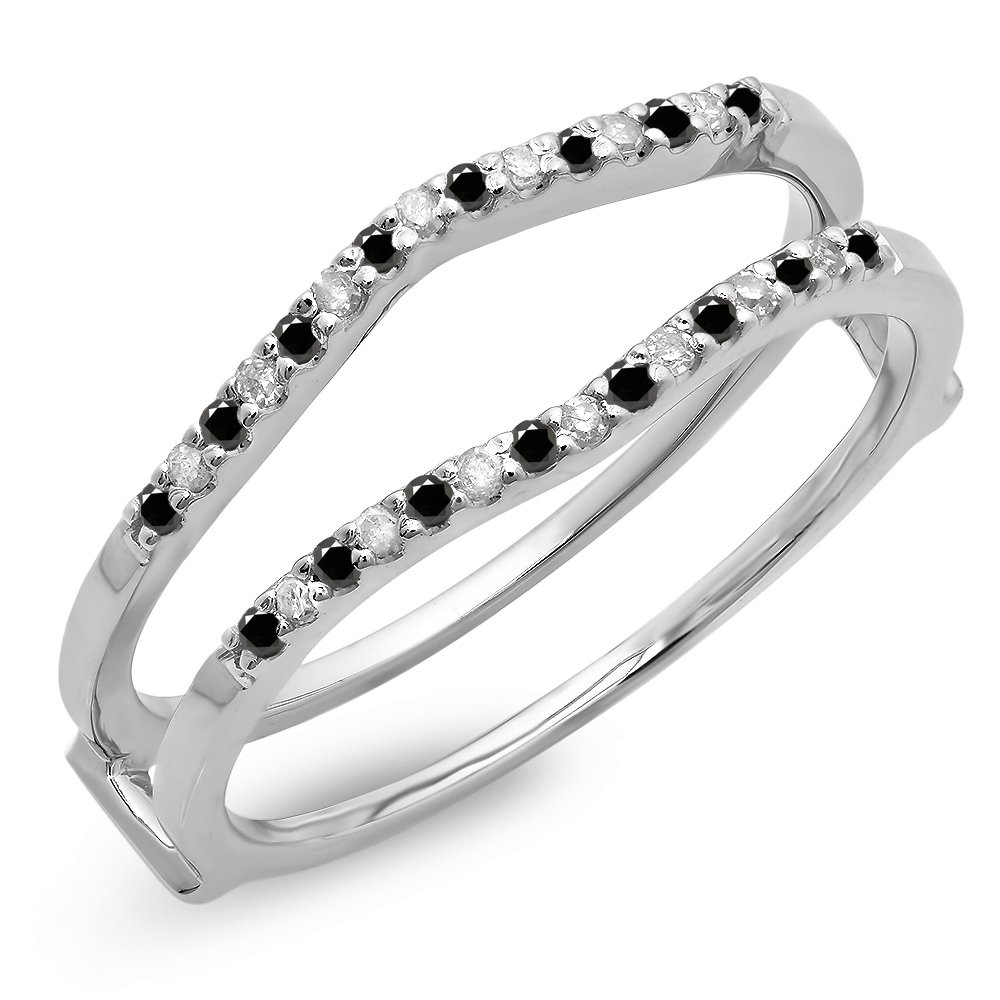 Dazzlingrock Collection 0.18 Carat (ctw) 10K Black & White Diamond Wedding Enhancer Guard Double Ring, White Gold, Size 5.5 by Dazzlingrock Collection