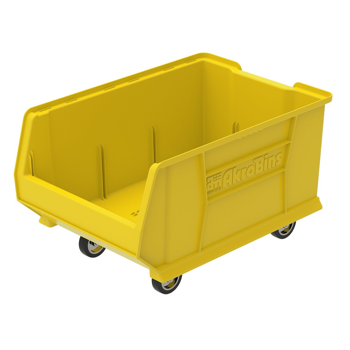 Akro-Mils 30288 Mobile Super Size Plastic Stacking Storage Akro Bin, 24-Inch x 16-Inch x 11-Inch, Yellow